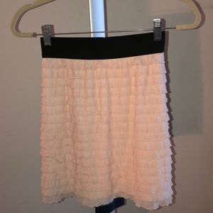 Pink Ruffled skirt with black band